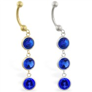 14K Gold belly ring with triple dangling round Sapphire
