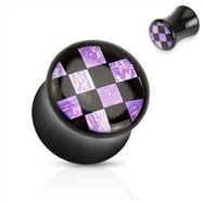 Pair of Black acrylic saddle plug with purple checker inlay