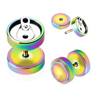 Pair Of Rainbow Titanium Anodized Fake Plugs with Soda Can Top, 16 Ga