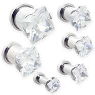 Pair Of Steel Screw-Fit Plugs with Clear Square CZ