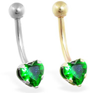 14K Gold belly ring with emerald 6mm CZ heart