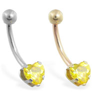 14K Gold belly ring with yellow 6mm CZ heart