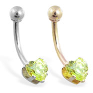 14K Gold belly ring with 6mm peridot  heart