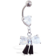Jeweled bow and heart belly ring