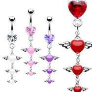Jeweled heart navel ring with winged hearts dangle
