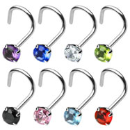 Stainless steel nose screw with 3mm gem, 18 ga