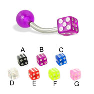 Curved Barbell with Acrylic Dice And Ball, 16 Ga
