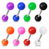 Straight barbell with solid colored balls, 14 ga