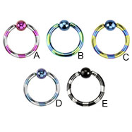 Titanium anodized duel-tone striped captive bead ring, 14 ga