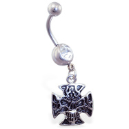 Navel ring with dangling skull cross