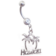 "Belly ring ring with ""Hawaii"" and palm trees dangle"