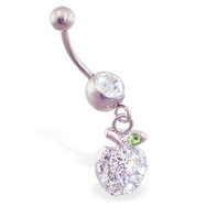Navel ring with dangling jeweled apple