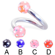 Twister barbell with multi-gem acrylic colored balls, 10 ga