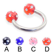 Circular Barbell With Multi-Gem Acrylic Colored Balls, 10 Ga