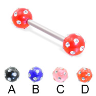 Straight barbell with multi-gem acrylic colored balls, 14 ga