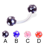 Curved barbell with multi-gem acrylic colored balls, 14 ga