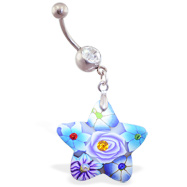 Belly ring with dangling murano style rubber jeweled star