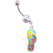 Navel ring with dangling light blue flipflop with flowers