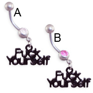 "Jeweled belly ring with dangling black ""F*CK YOURSELF"""