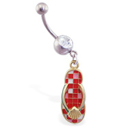 Jeweled navel ring with dangling red checkered flipflop with shell