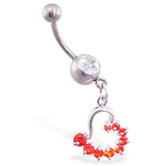 Belly ring with dangling red half-jeweled heart