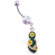 Jeweled belly ring with dangling green flipflop with flowers