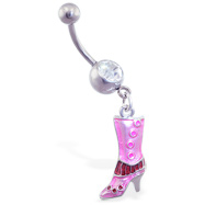 Belly ring with dangling pink boot