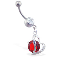 Belly ring with dangling curved heart and large red gem