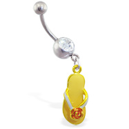 Jeweled navel ring with dangling yellow flipflop with flower