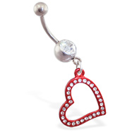 Jeweled navel ring with dangling red jeweled heart
