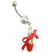 Jeweled belly ring with dangling red slipper and bow