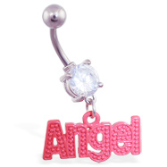 "Jeweled Belly Ring with Dangling Red ""Angel"""