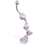 Navel ring with dangling jeweled triple hearts