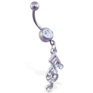 Belly ring with dangling music notes