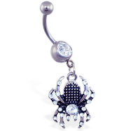 Navel ring with dangling jeweled black and steel colored spider