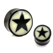 Pair Of Natural Buffalo Horn Saddle Plugs with Bone Star Inlay