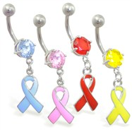 Navel ring with dangling colored ribbon