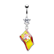 Belly button ring with dangling Spanish flag