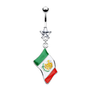 Belly Ring with Dangling Mexican Flag