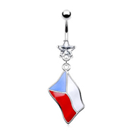 Belly ring with dangling Czech flag