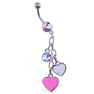 Jeweled navel ring with dangling heart and gem charms