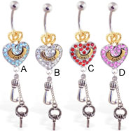 Jeweled gold-plated crown and heart navel ring with dangling letter J and key