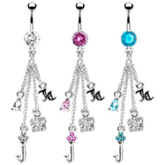 Jeweled navel ring with dangling chains and charms