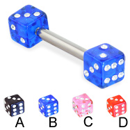 Straight barbell with jeweled acrylic dice, 12 ga