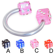 Jeweled acrylic dice circular barbell, 12 ga