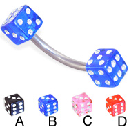 Titanium curved barbell with jeweled acrylic dice, 14 ga