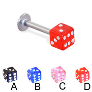 Jeweled acrylic dice labret, 14 ga