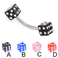 Jeweled acrylic dice curved barbell, 14 ga