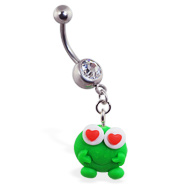 Navel ring with dangling clay love frog