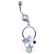 Jeweled belly ring with dangling jeweled multi-colored flower on circle